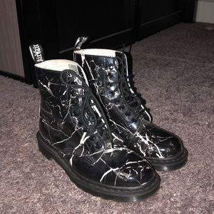 Shoes - Black Marble Doc Martens Style- Pascal/size 8